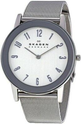 SKAGEN 39LSSS Mens Ultra Slim Watch with Self Adjustable Mesh Strap NEW