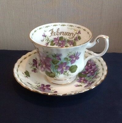 Royal Albert Bone China Flower of the Month February Teacup and Saucer