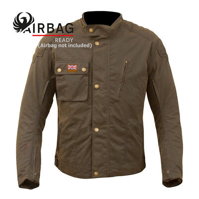NEW Merlin Men's Stafford Wax Cotton Airbag Ready Motorcycle Touring Jacket