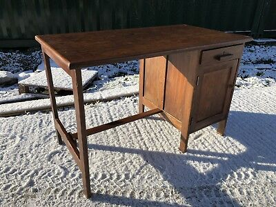 Stunning Pitch Pine Solid Wood Vintage Desk Perfect Size Good Condition