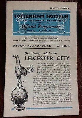 Tottenham Hotspur v Leicester City Programme 1962-1963 Spurs Very Good Condition