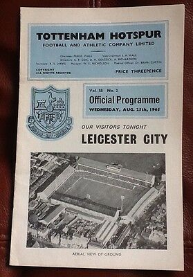 Tottenham Hotspur v Leicester City Programme 1965/66 Spurs Very Good Condition