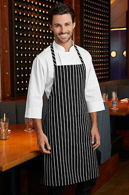 Black and White Stripe Butcher Apron Catering Cooking Chef Apron -with pocket