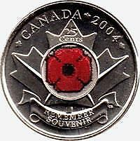 2004 CANADIAN 25c QUARTER REMEMBRANCE DAY, POPPY COLOURED COIN #04/10..