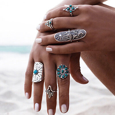 KQ_ Charm Design Luxury Vintage Turquoise Geometry Totem Carving Openings Rings