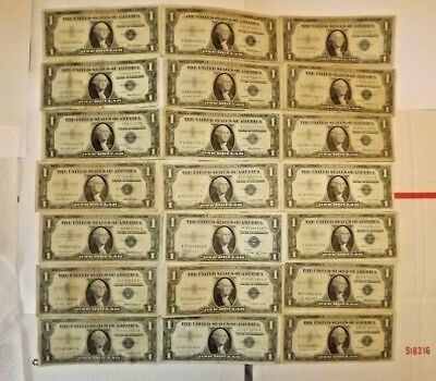 Lot of (21) $1 Bills Silver Certificates =  (6) Star Notes 1935-57 Currency SALE