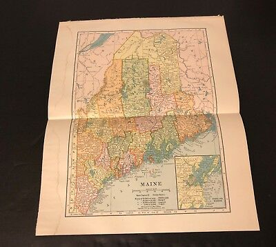 Antique Folding Color Map Copyright 1904 C.S. Hammond Co. of MAINE