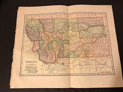 Antique Folding Color Map 1904 C.S. Hammond Co. of MONTANA