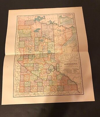 Antique Folding Color Map Copyright 1904 C.S. Hammond Co. of MINNESOTA