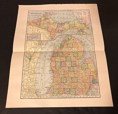 Antique Folding Color Map Copyright 1904 C.S. Hammond Co. of MICHIGAN