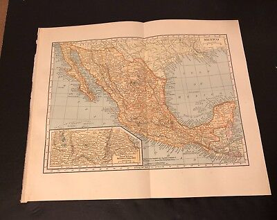 Antique Folding Color Map Copyright 1904 C.S. Hammond Co. of MEXICO