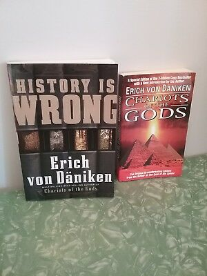 DANIKEN lot CHARIOTS OF THE GODS HISTORY IS WRONG paperback ancient civilization