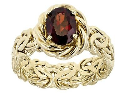 1.33ct Natural Oval Red Garnet Byzantine Band Ring REAL 10K Yellow Gold