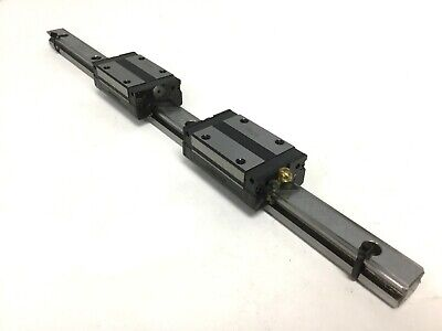 THK SSR15 Linear Ball Bearing Block Carriage Slides (x2) on 340mm Guide Rail