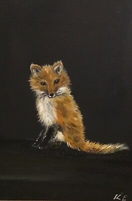 Original oil painting.Fox wildlife. Not a print. Signed