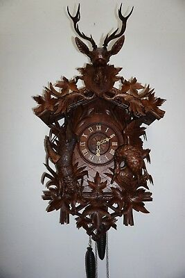 Antique Huge (41.5) Black Forest Cuckoo Clock W. Duck & Rabbit