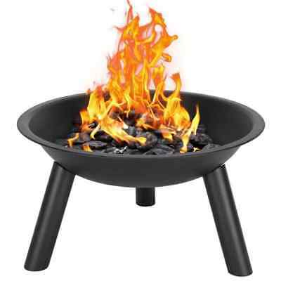 "22"" Black Portable Cast Iron Fire Pit Bowl Camping Outdoor Backyard Patio Heater"