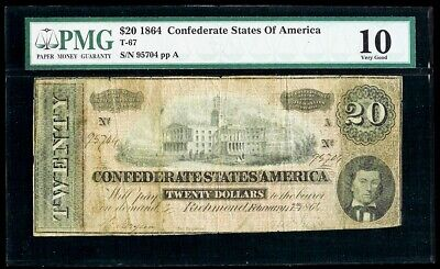 1864 Confederate States Of America $20 Richmond Note T-67 Pmg Very Good 10