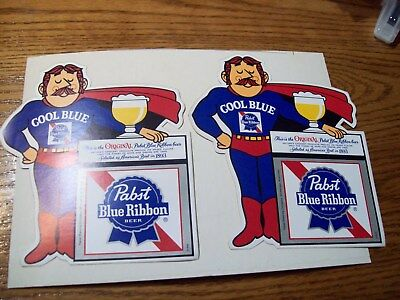 "2 PABST BLUE RIBBON BEER,COOL BLUE,STICKER, AMERICAS BEST IN 1893, LARGE 7"" x 6"""