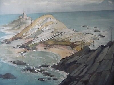 The Mumbles Headland + Lighthouse, Swansea. G. Rees Teesdale WC Landscape c1960