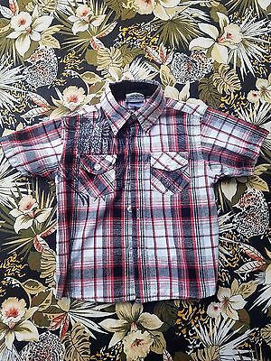 Urban Extreme boys red,white and black plaid button down shirt size 2t