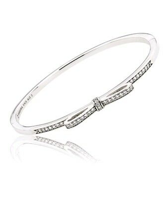 Authentic Pandora Silver Sparkling Bow Bangle Bracelet 590536CZ