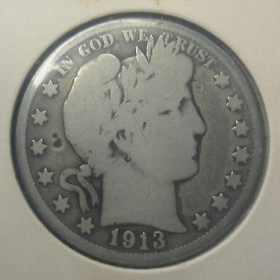 1913 50C Barber Half Circulated 90 % Silver US Coin #1101 RARE 188k