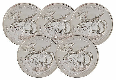 Lot of 5 - 2012 $5 1oz Silver Canadian Moose .9999 BU