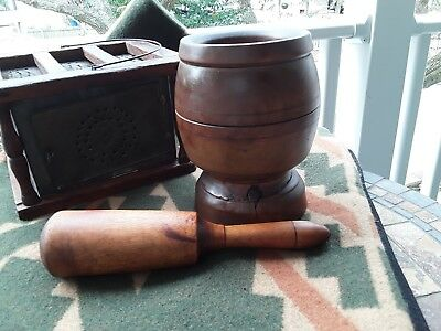 Antique Primitive Hand Turned Wood Mortar & Pestle Early Americana Apothecary