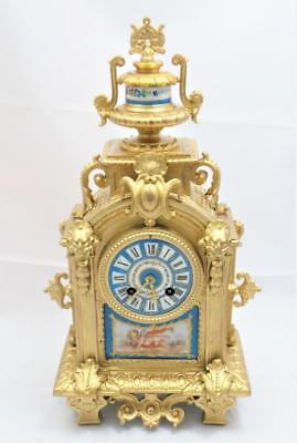 Antique mantle Clock Beautiful French C1880 Gilt & Blue Sevres Bell Striking