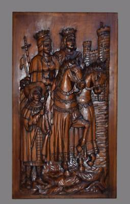 Gothic French Architectural Deep Carved Wood Wall Panel King Queen Horseback