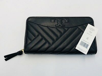 4c9e11ca9 NEW Tory Burch Black Alexa Zip Continental Leather Wallet Retail  238