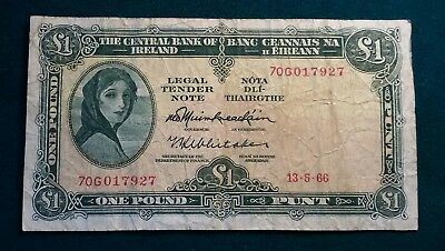 Banknote 1 Punt - Ireland Lady Lavery 13-05-1966 - One Pound