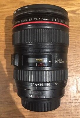 Canon EF 24-105mm F4 L IS USM lens, Canon hood, caps and Hoya filter