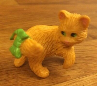 Puppy Kitten In My Pocket Ginger Cat Figure with Green Bow on Tail