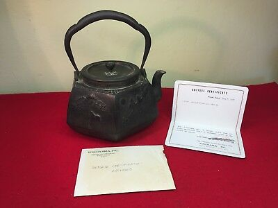 Antique 1830 Japanese Tetsubin Cast Iron Teapot W/ Bronze Lid Signed COA Beauty!