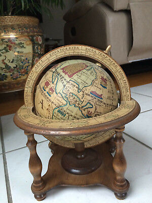 "Vintage OLDE WORLD ZODIAC GLOBE 6"" DIAMETER WOOD STAND MADE IN JAPAN 10.5"" TALL"