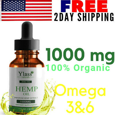 Pure Organic Hemp Oil Drops Pain Stress Anxiety Relief Natural Skin Heart Health