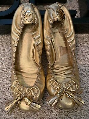ceb405966c19 TORY BURCH Reese Mestico Gold Tassel leather ballet flats - size 6 M