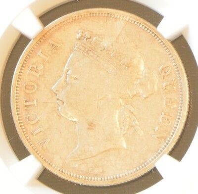 1900 Straits Settlements Victoria 50 Cent Silver Coin NGC VF Details