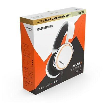 SteelSeries Arctis 5 RGB 7.1 Gaming Headset White 2019 Edition Refresh Wired