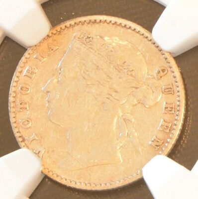 1881 Straits Settlements Victoria 10 Cent Silver Coin NGC VF 35