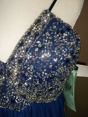 NWT MY MICHELLE PROM DRESS EVENING GOWN  womens sz 1 BLUE BEADED QUALITY