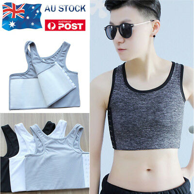 Lady Women Lesbian Tomboy Casual Buckle Short Chest Breast Binder Trans Corset