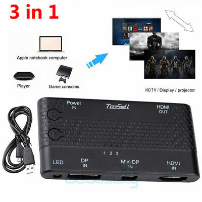 HDMI+DP+Mini DP HD Switch Computer Projector to TV Converter 3-in-1 Distributor