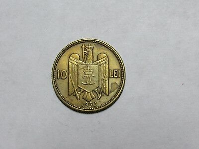 Old Romania Coin - 1930 10 Lei - Circulated, discolored