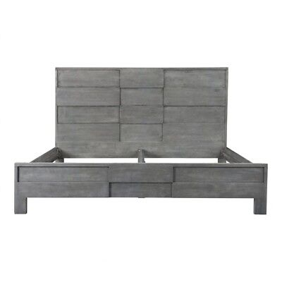 """85"""" D King Bed Solid Acacia Wood Raised Panels Powder Coated Iron Frame"""