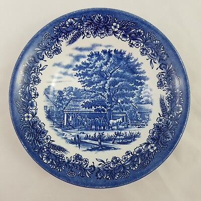 "Churchill England Currier & Ives Harvest WW VELGO Coupe 8 "" Soup Bowl Blue White"