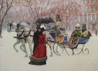 1992 Crewel Embroidery Kit Winter Impressions Victorian Horse Drawn Sleigh 5349F