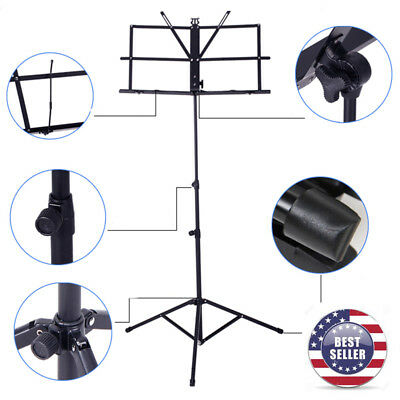 Black Adjustable Metal Sheet Music Stand Holder Folding With Carry Bag USA STOCK